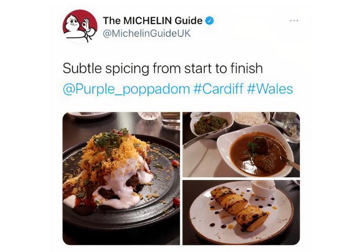 Michelin Guide Twitter Message about Purple Poppadom