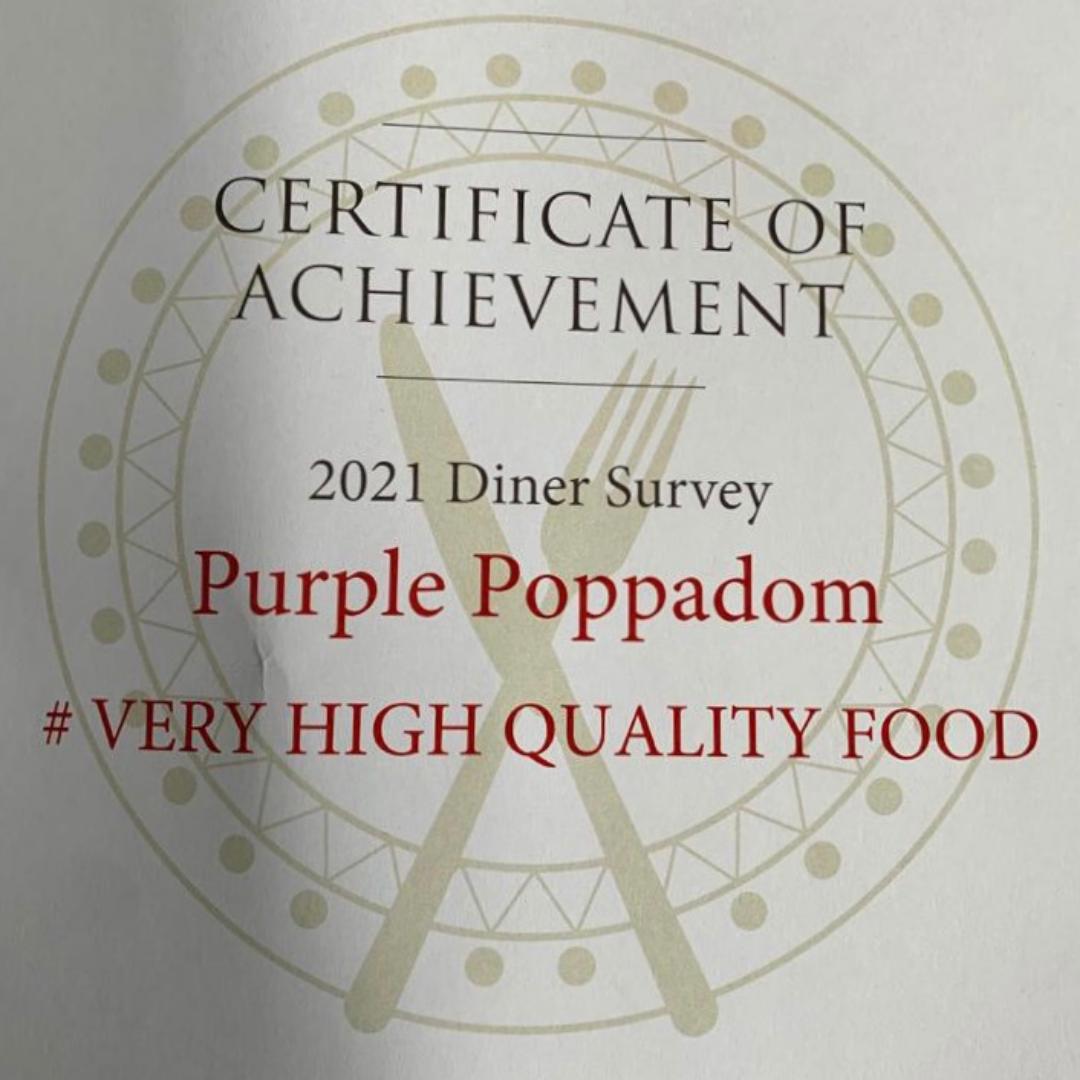 Purple Poppadom listed in Harden's Restaurant Guide 2021