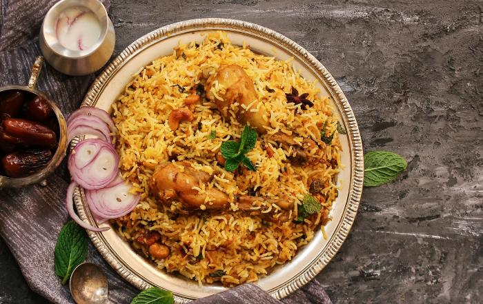 Chicken Biryani with side dishes